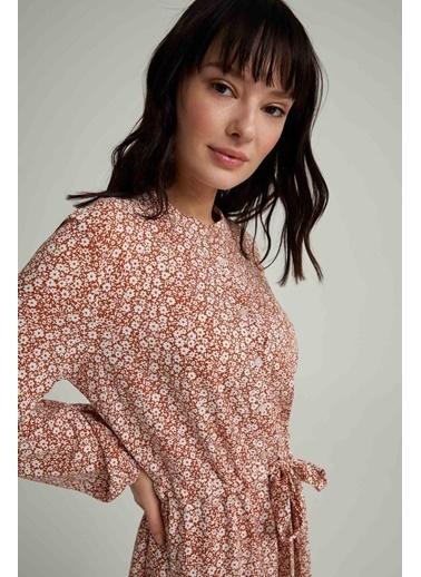 DeFacto Gömlek Yaka Kuşak Detaylı Balon Kollu Elbise Turkuaz
